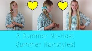 3 Quick & Easy No-Heat Summer Hairstyles! | Avrey Elle Thumbnail