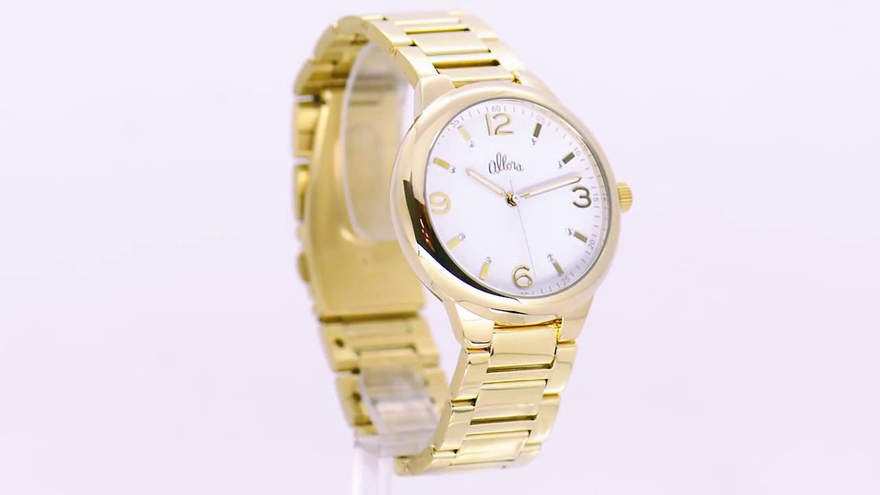 Kit Relógio Allora Feminino Colar e Brincos AL2035LM K4B - Eclock ... d653c35099