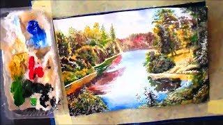 Как рисовать акрилом лесной пейзаж поэтапно для начинающих