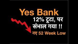 Yes Bank - 12% टूटा, पर संभाल गया !! नए 52 Week Low !!