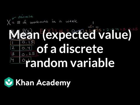 Mean (expected value) of a discrete random variable | AP Statistics | Khan Academy