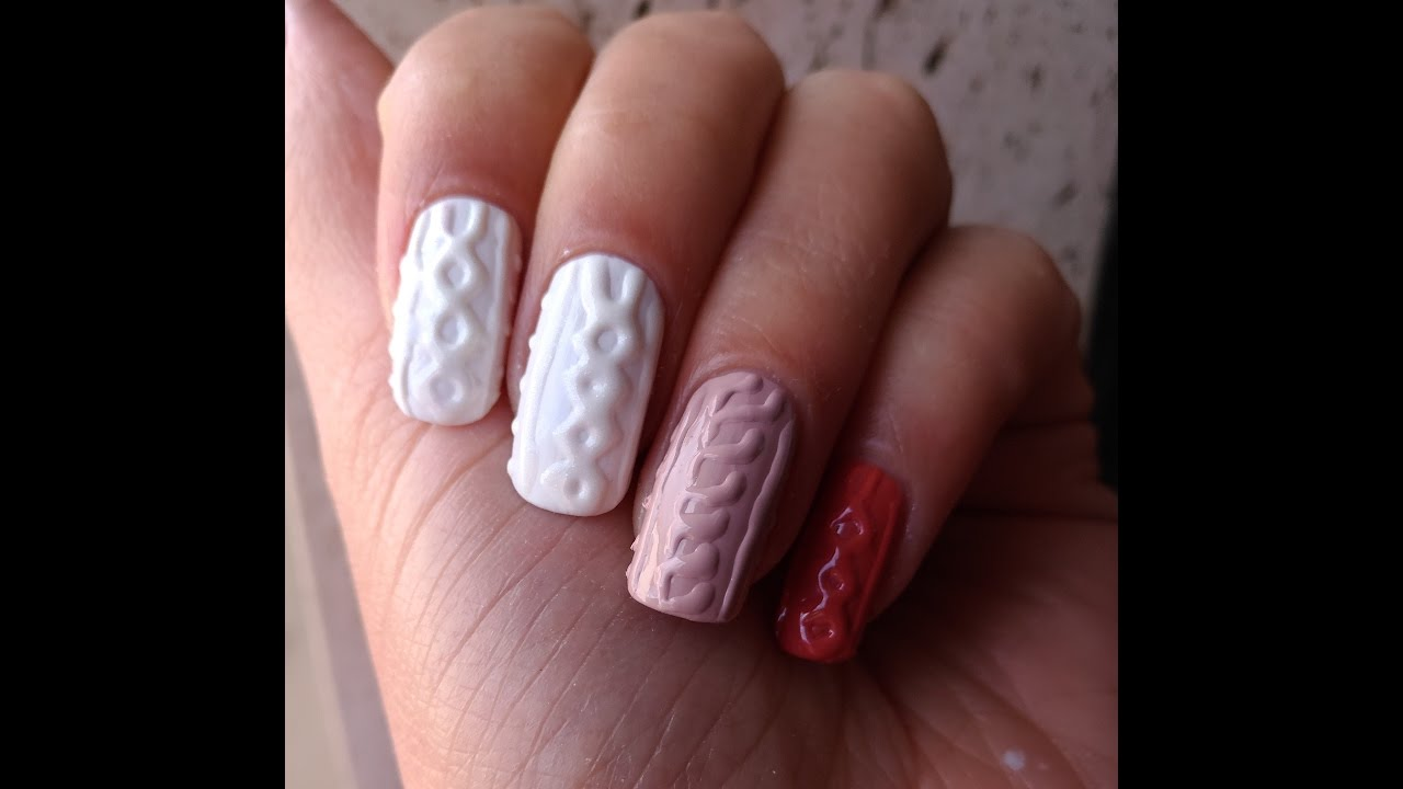 Sweater Nail Art With Regular Nail Polishwith And Without Top Coat