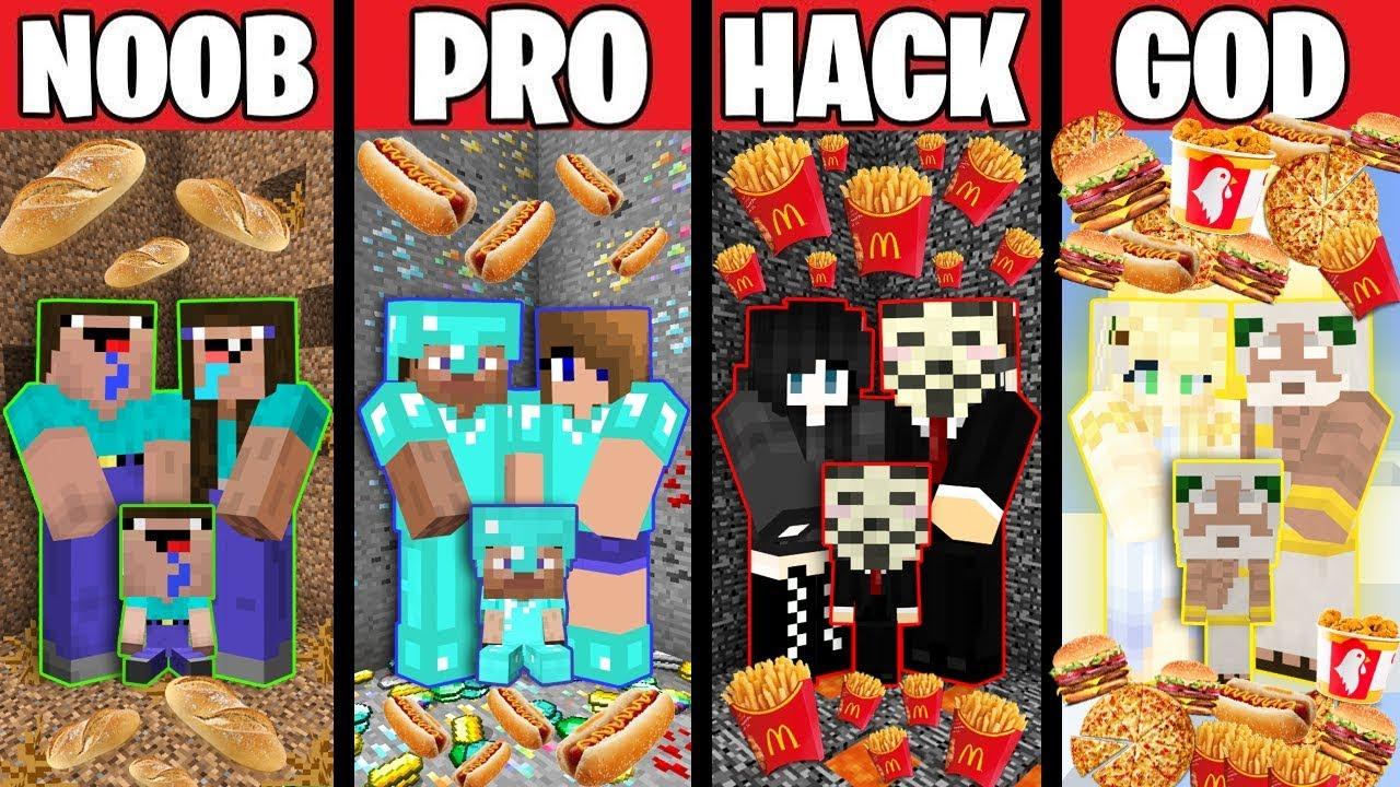 Minecraft Battle: FOOD FAMILY CHALLENGE! NOOB vs PRO vs HACKER vs GOD in Minecraft Animation