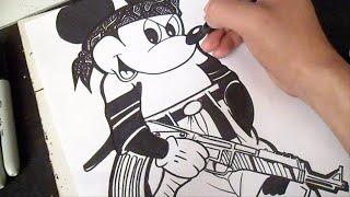 как рисовать Микки Мауса граффити