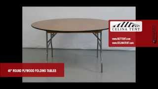 "Round Wood Folding Tables - 48"" / 4' Diameter"