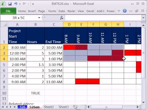 Excel Magic Trick 626 Time Gantt Chart -- Conditional Formatting