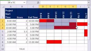 Excel Magic Trick 626: Time Gantt Chart -- Conditional Formatting & Data Validation Custom Formulas