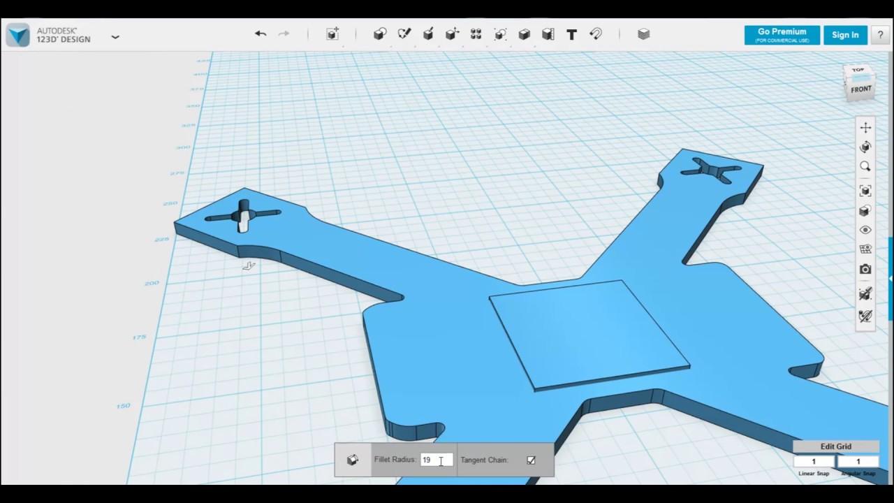 Autodesk 123d Design quadcopter frame design timelapse - YouTube