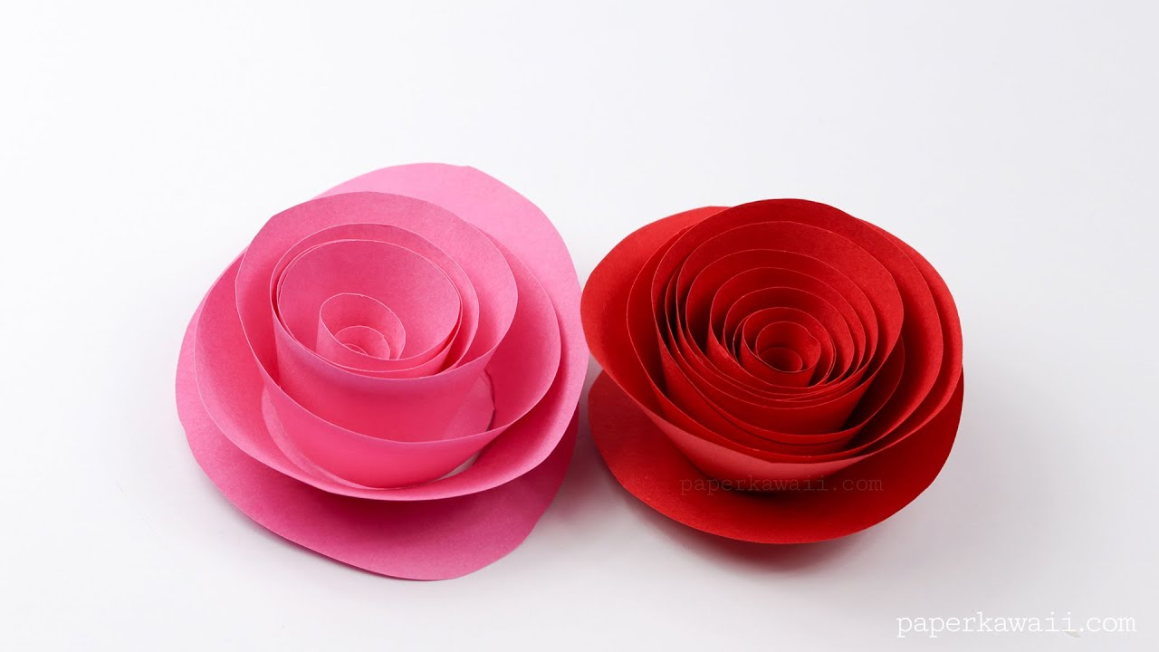 How To Make Rolled Paper Roses Super Easy Way Paper Origami Rose