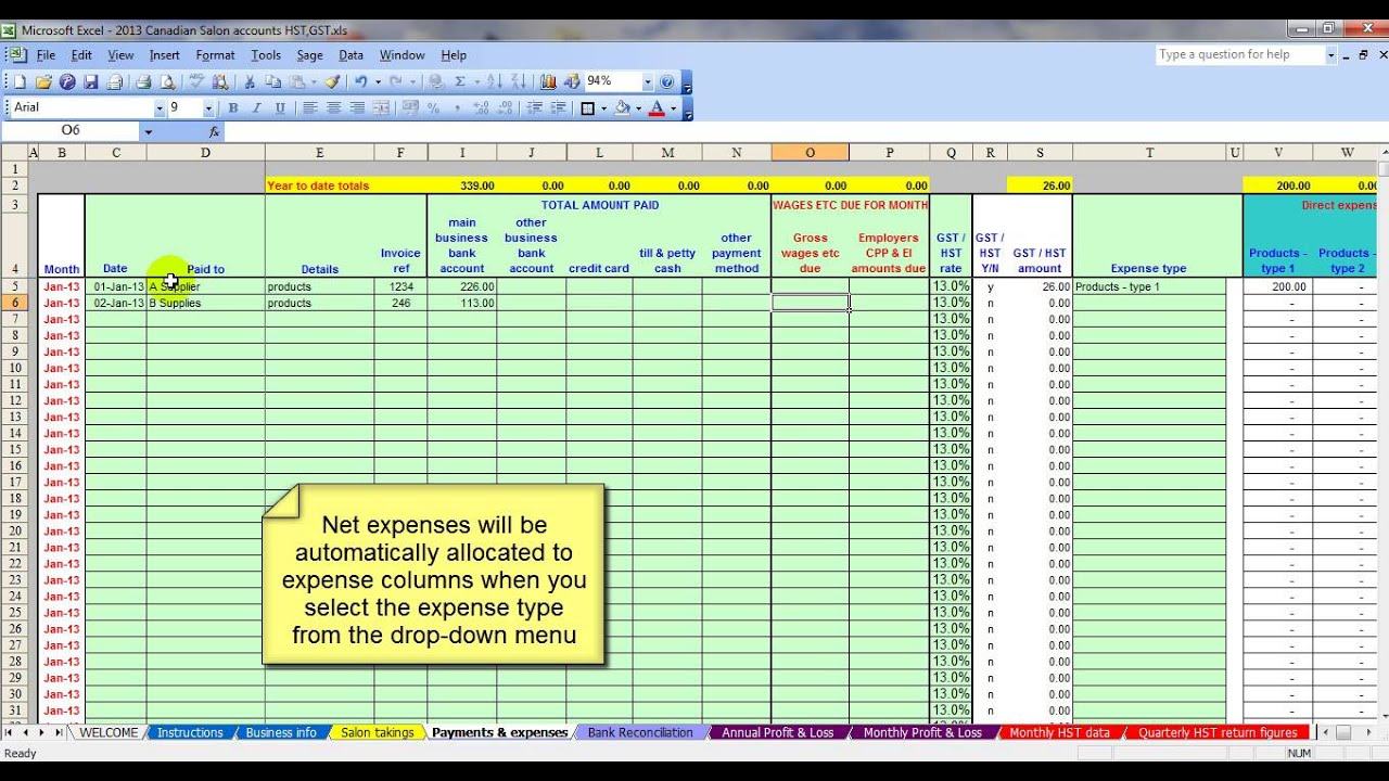 canadian salon gst hst accounting spreadsheet youtube