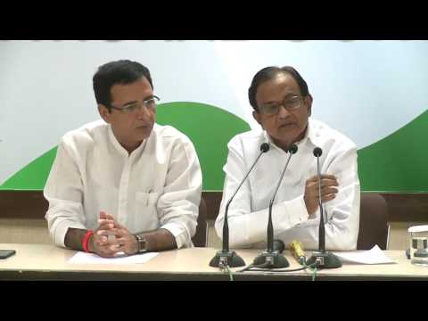 AICC Press Briefing By P  Chidambaram at Congress HQ, July 06,2017