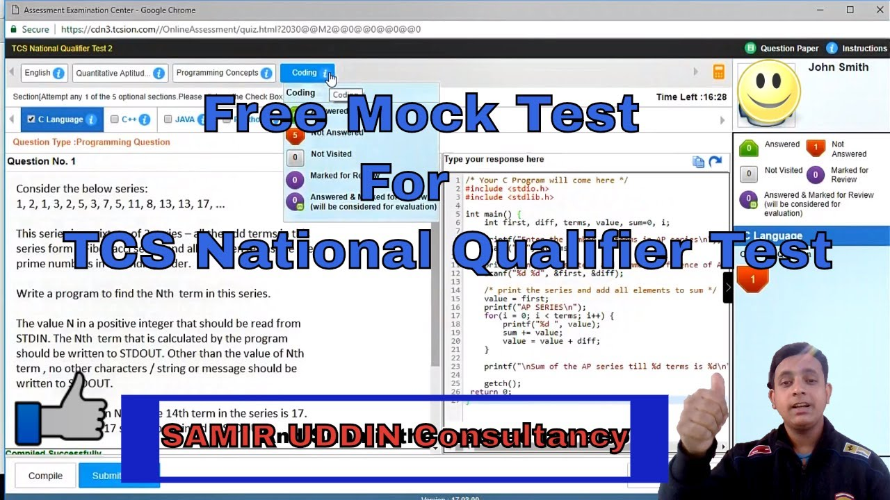MOCK TEST FOR TCS Ninja Recruitment |TCS NATIONAL QUALIFIER TEST| TCS  online exam practice (2018-19)