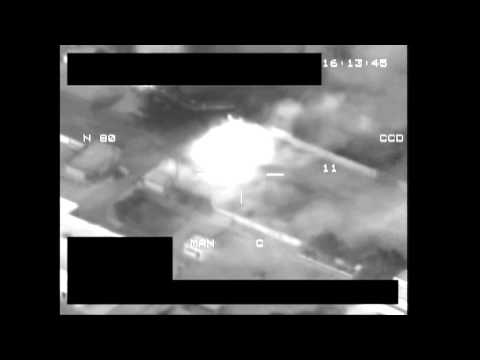 Tank destroyed by Missile launched from NATO Warplane in Libya viewed by HUD Heads up Display Video
