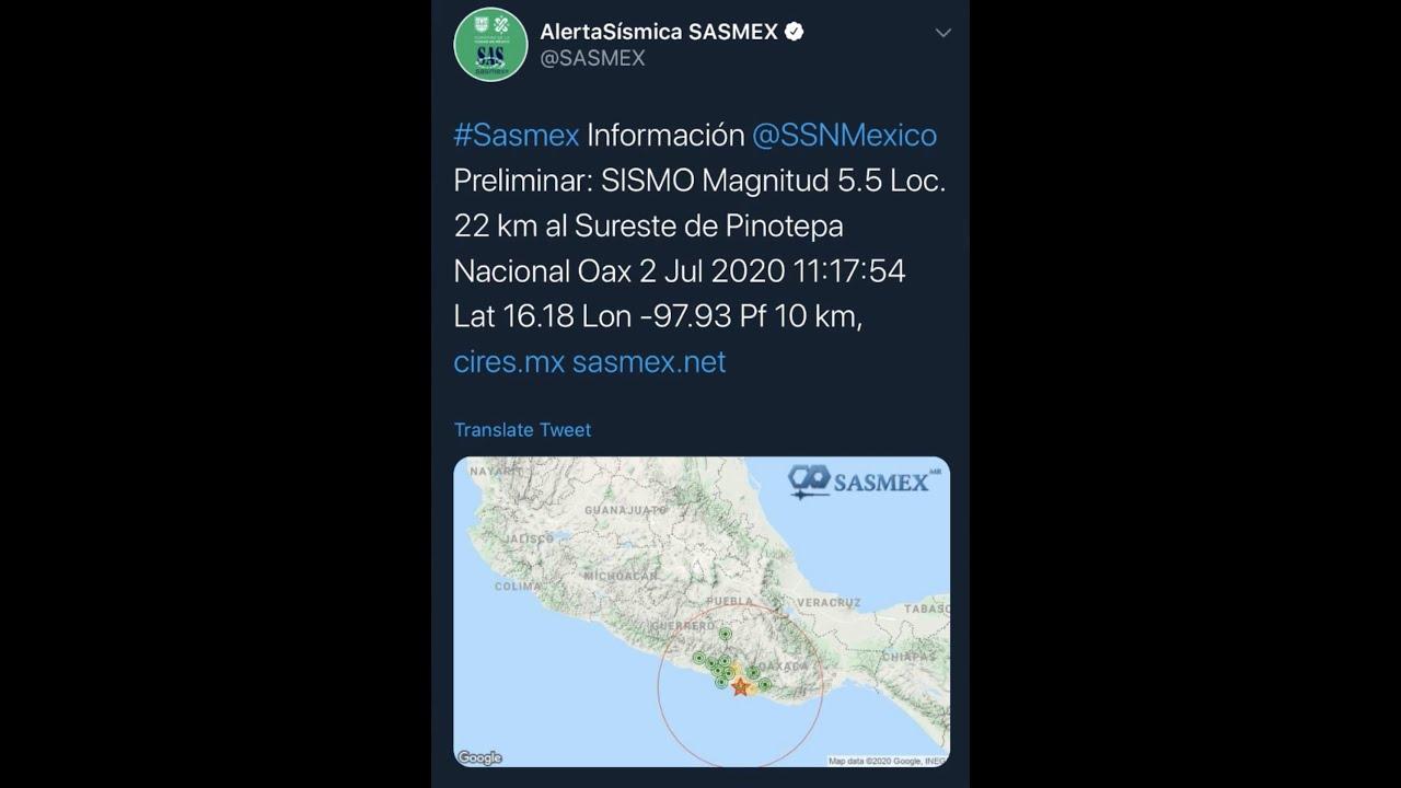 ¡VUELVE A TEMBLAR EN MÉXICO! SE REGISTRA SISMO DE 5.5 CON EPICENTRO EN PINOTEPA NACIONAL
