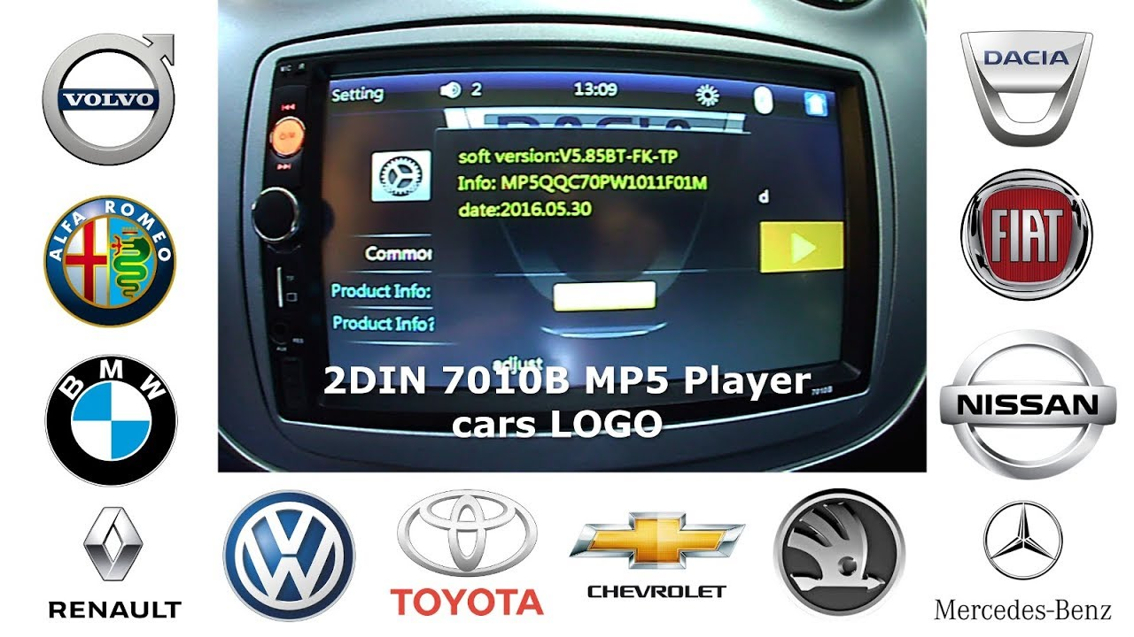 2DIN stereo 7010B MP5 Player - Tutorial vehicle LOGO