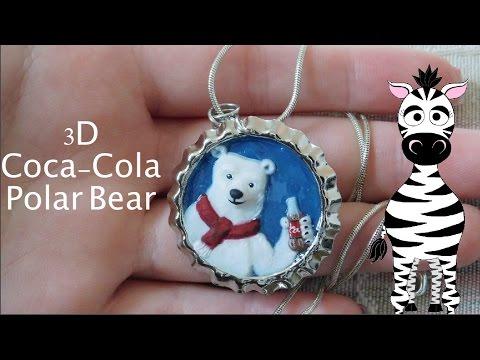 3D Coca Cola Polar Bear Pendant Acrylic Nail Art Tutorial