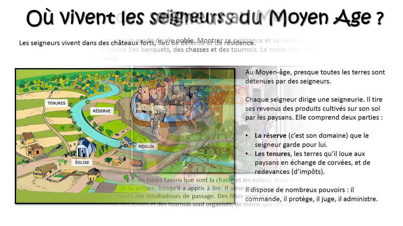 Connu La vie des seigneurs au Moyen Age – Cm1 – Diaporama – TBI - YouTube WS77