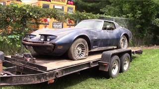 1974 corvette first time moved in 30 years beside the barn find