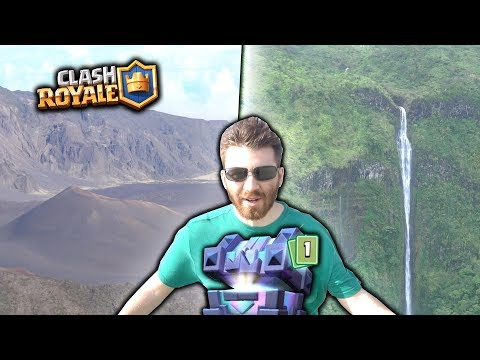 PLAYING CLASH ROYALE ON A CLIFF, CRAZY MAUI VOLCANO & KINGS CHEST OPENING!