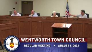 August 6, 2013 - Wentworth Town Council