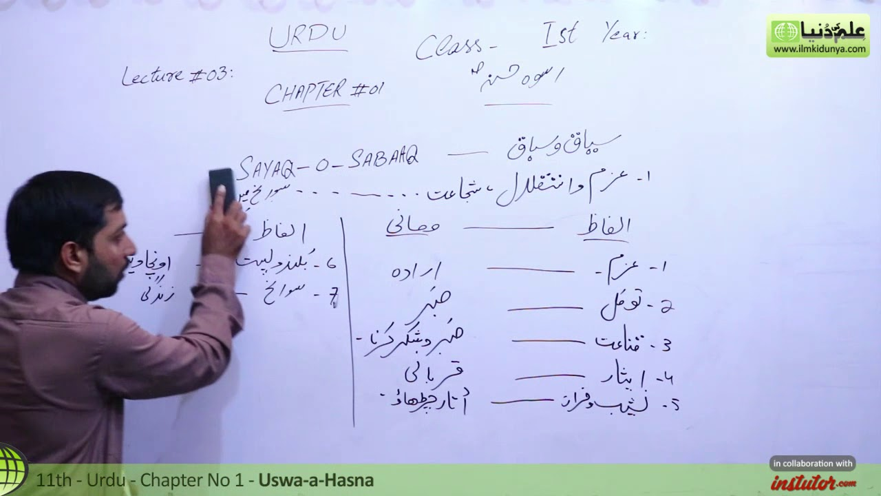 First Year Urdu,Ch 1,lec 3,Sayaq-O-Sabaq- Uswa-e-Hasna -11th class