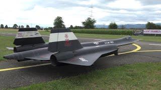 Giant Radio Controlled SR-71 Blackbird Twin Turbine Scale Model Jet With Afterburn