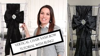 Chair Sash Ideas Vertical Chair Sash Bow with Bling Tutorial