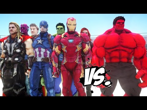 THE AVENGERS VS RED HULK - EPIC SUPERHEROES BATTLE | DEATH FIGHT