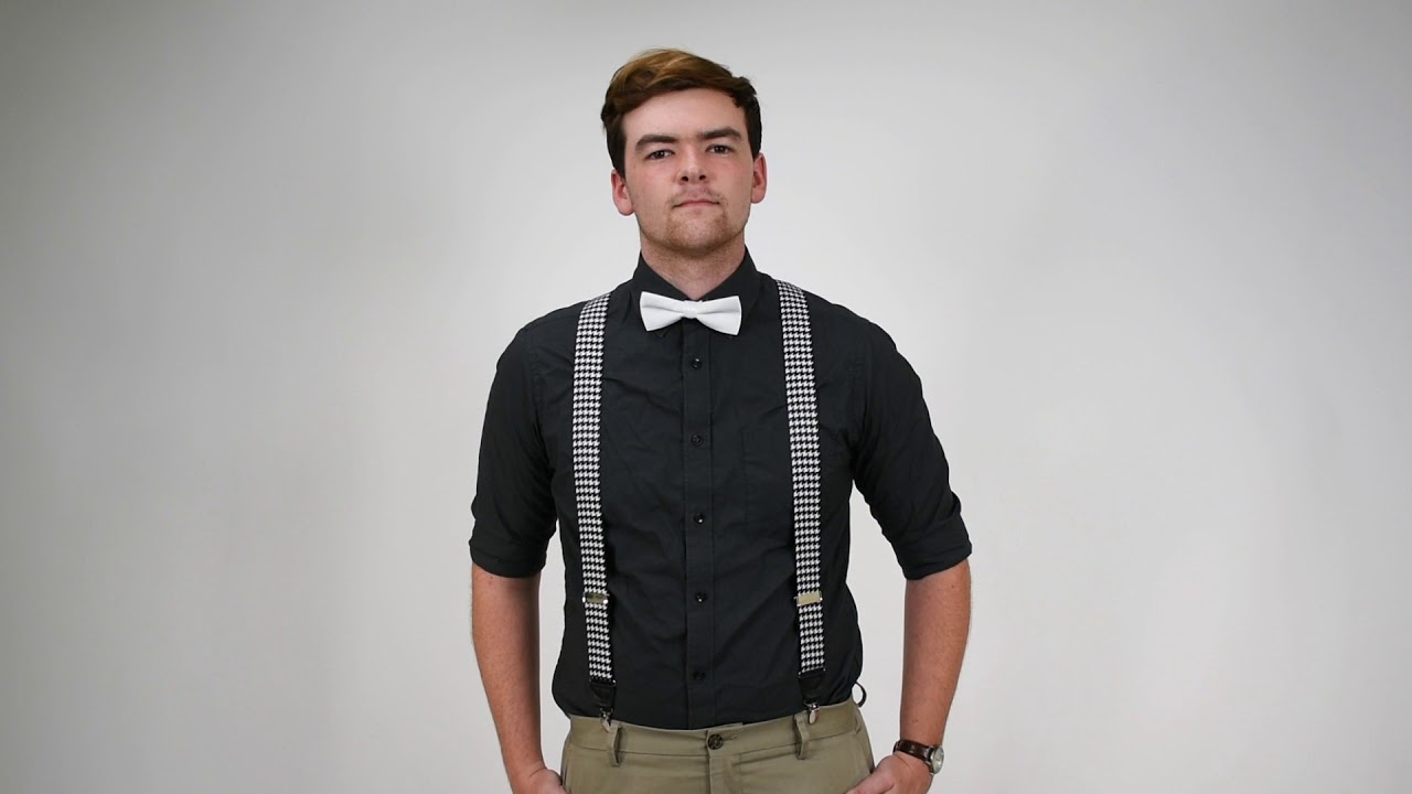 544d69ba4ec7 White Bow Tie With Houndstooth Clip-on Suspenders - YouTube