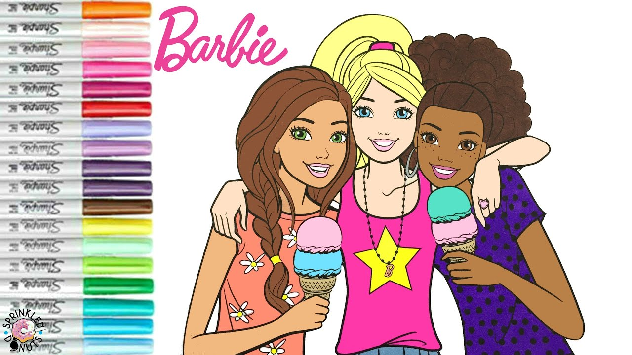 Barbie And Friends Coloring Book Page Best Friends Barbie Teresa And Nikki Sprinkled Donuts Youtube