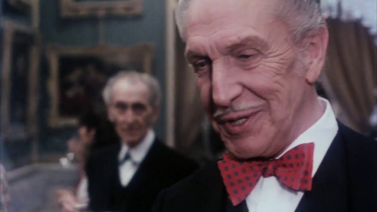 Download House of the Long Shadows (1983) funny Christopher Lee and Vincent Price scene
