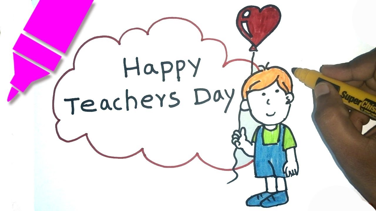 Teachers day drawing for kids step by step happy teachers day