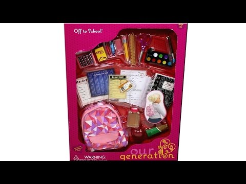 "OUR GENERATION OFF TO SCHOOL SET WITH BACKPACK FOR AMERICAN GIRL OR ANY 18"" DOLL"