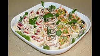 Рулет из лаваша. 3 вкусных начинки. Новогодние рецепты. Роллы из лаваша. Тортилья. Моя Dolce vita