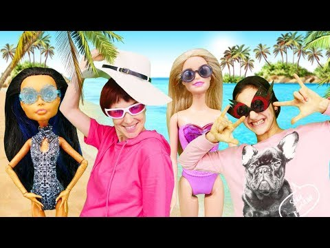 На пляже с Барби и Монстер Хай! Игры в куклы для девочек.