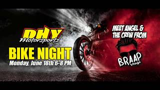 Angel Lebron from Braap Vlog arrives for the June 2018 DHY Motorsports Bike Night