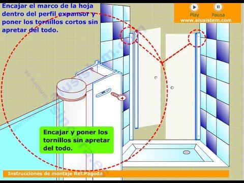 Como montar una mampara de ducha de 2 puertas abatibles - Como colocar una mampara de bano ...