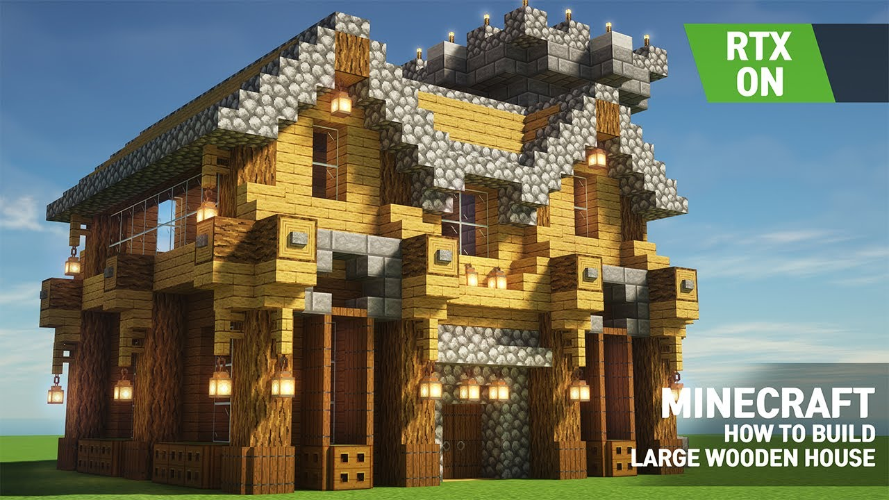 Minecraft Wooden House Tutorial  Ultra Graphics - Ray Tracing - RTX - 8K