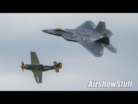 P-51 Mustang Aerobatics and Heritage Flight w/ F-22 Raptor - America's Freedom Fest 2017
