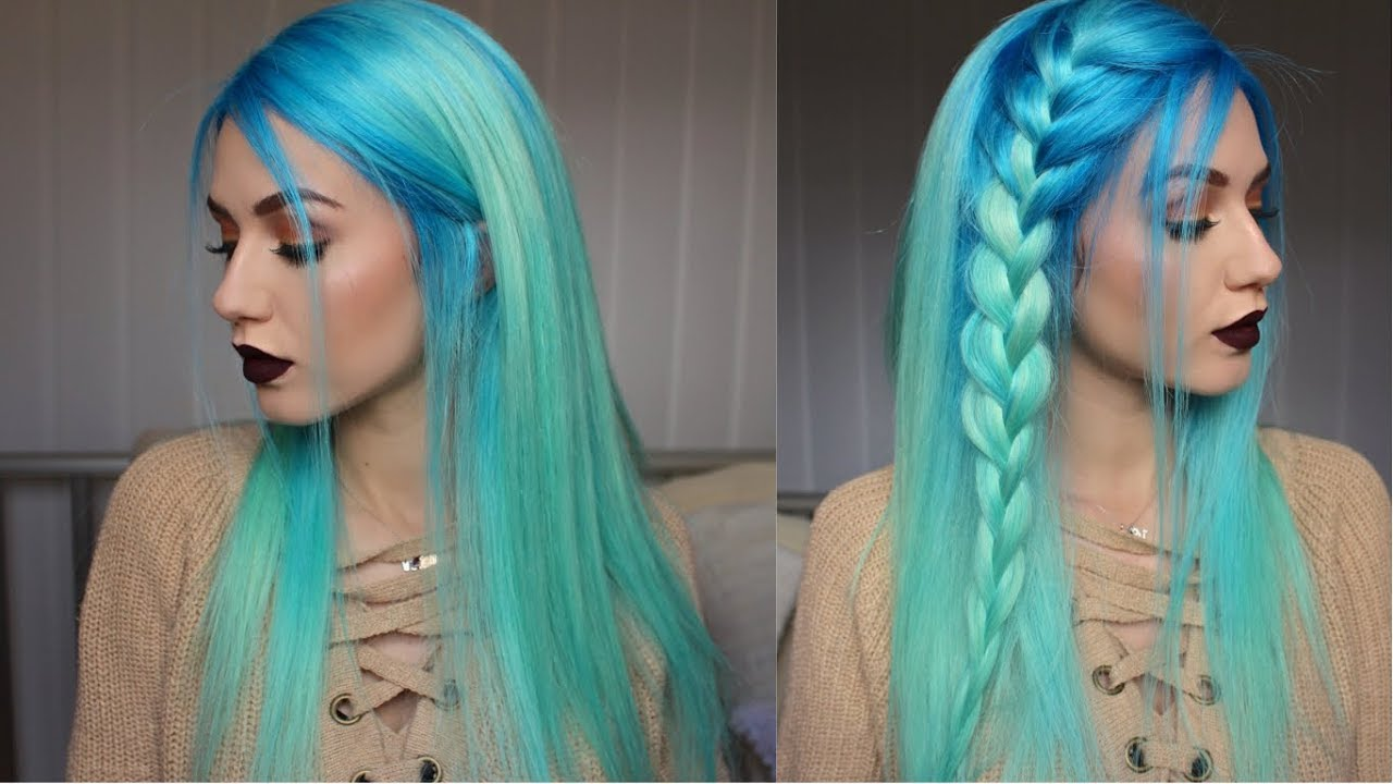 How To Neon Blue To Pastel Mint Hair Dye Stella Youtube