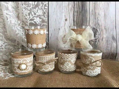 Burlap Vases Candles Centerpieces Rustic Wedding Shower