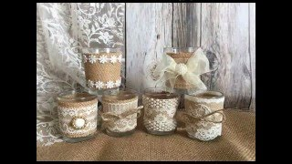 burlap vases, candles, centerpieces, rustic wedding, shower decorations