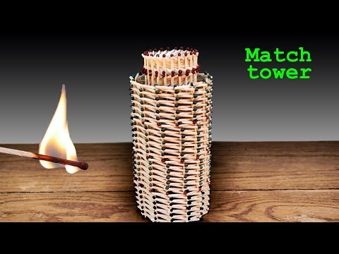 How To Make A Match Tower Without Glue And Burn It | MATCH CHAIN REACTION
