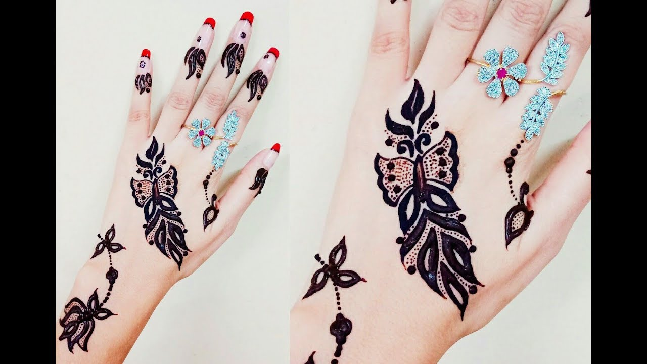 Mehndi Henna Butterfly : Latest cutest butterfly henna design😄karwa chauth specialby
