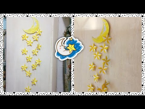 Diy Wall Decoration : Decorating with Paper Moon with Stars : Beautiful wall hanging