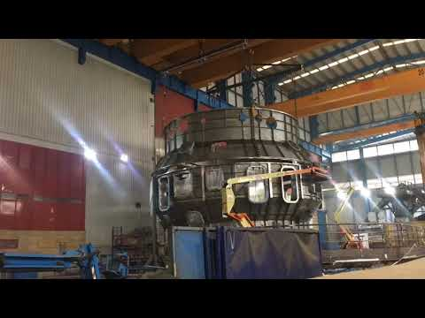 JT-60SA cryostat vessel body pre-assembly completed in the ASTURFEITO factory.