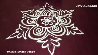 Unique Rangoli Kolam with Simple Design | Beautiful Muggulu Rangoli without Dots