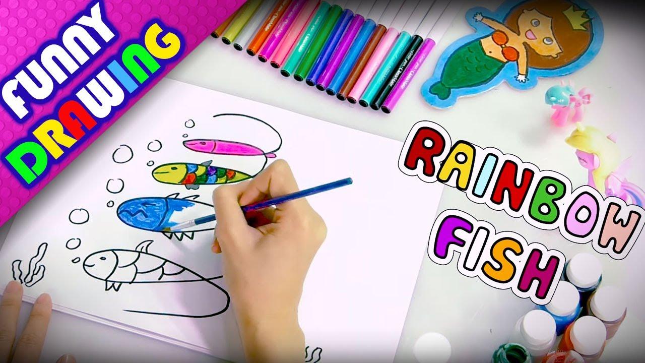 DIY - How to draw a Rainbow Fish and Buffalo easy - Dạy bé vẽ và tô màu con cá con trâu