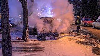 Pożar samochodu na ul. Goworowskiej (wideo: czytelniczki)