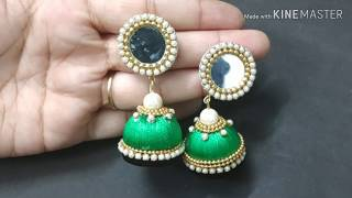 How to make Silk Thread Jhumka Earring with Mirror Stud at Home   Double layer  Tutorial  DIY